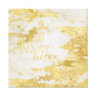 Gold Glitzy White Marble Do what makes you happy Canvas Print