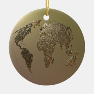 Gold Globe Ceramic Ornament
