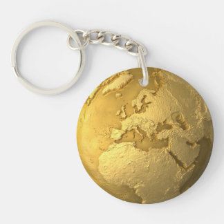 Gold Globe - Metal Earth. Europe, 3d Render Double-Sided Round Acrylic Keychain