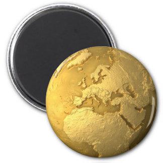 Gold Globe - Metal Earth. Europe, 3d Render Magnet