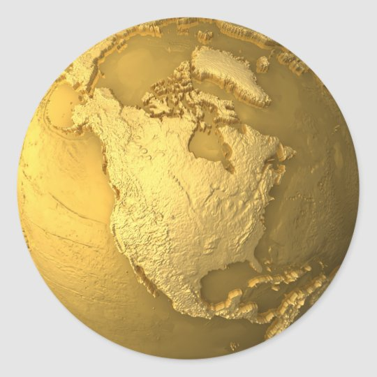 Gold Globe - Metal Earth. North America, 3d Render Classic Round Sticker