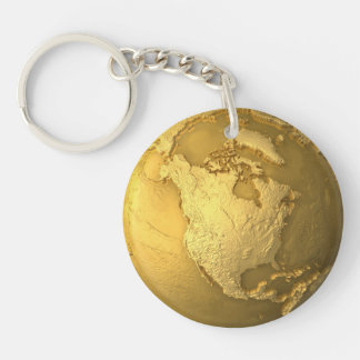 Gold Globe - Metal Earth. North America, 3d Render Double-Sided Round Acrylic Keychain