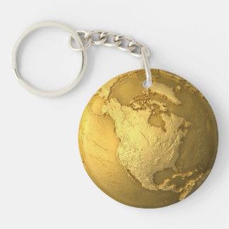 Gold Globe - Metal Earth. North America, 3d Render Keychain