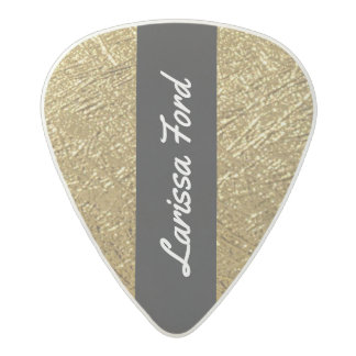 gold / golden texture chic & personalized acetal guitar pick