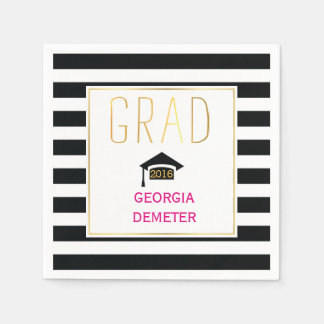 Gold grad black, white stripes hot pink graduation disposable napkins