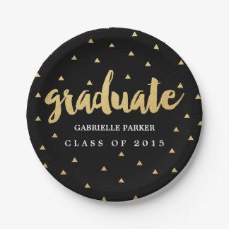 Gold Grad Faux Foil Graduation Party Plates