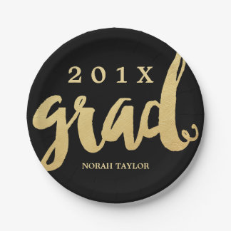 Gold Grad | Graduation Party Plates | Lg Text 7 Inch Paper Plate