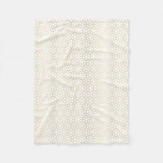 Gold Gradient Effect Star Pattern White Fleece Blanket