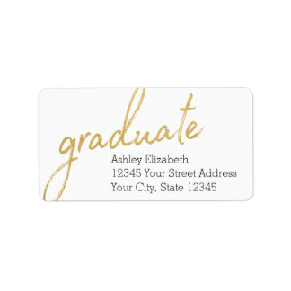 Gold Graduate Modern Graduation Return Address Label