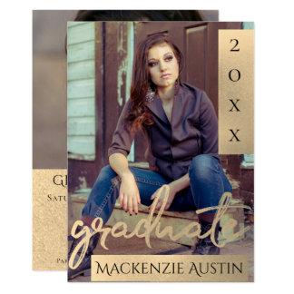 Gold Graduation | Modern Brushstroke Photo Party Card