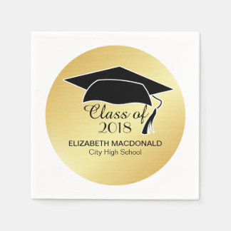 Gold Graduation Napkin Black Mortar Board & Text Disposable Napkins