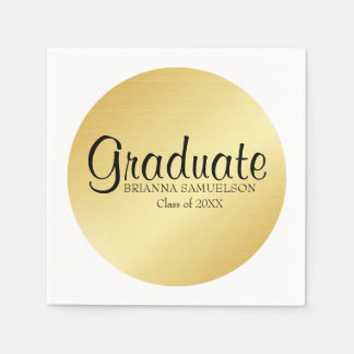 Gold Graduation Paper Napkin with Black Text