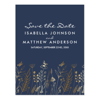 Gold Grasses Butterflies & Navy Save the Date Postcard