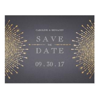 Gold gray art deco vintage wedding save the date postcard