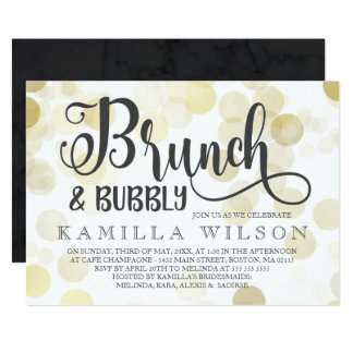 Gold & Gray Brunch & Bubbly Bridal Shower Card