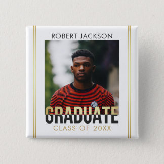 Gold & Gray Graduate Typography | Photo Graduation 2 Inch Square Button