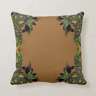 Gold Green Abstract Feathery Throw Pillow