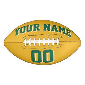 GOLD GREEN AND WHITE Custom Football