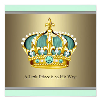 Gold Green Crown Prince Baby Boy Shower Card
