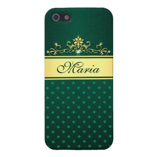 Gold & Green Diamonds Case Savvy iPhone 5/5S Case