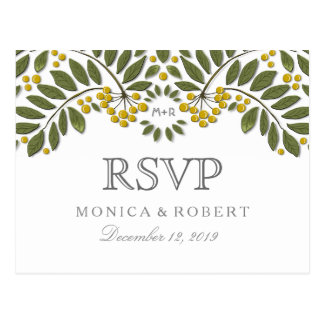 Gold & Green Floral Berries RSVP Meal Selections Postcard