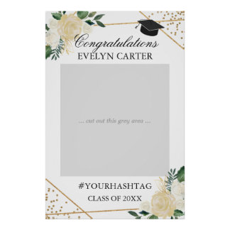 Gold Green Floral Graduation Party Photo Prop Poster