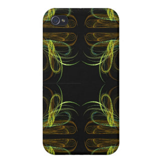 Gold & Green Fractal 4  Cover For iPhone 4