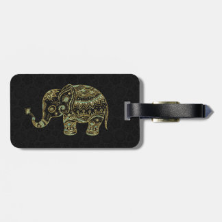 Gold & Green Glitter Floral Elephant Luggage Tag