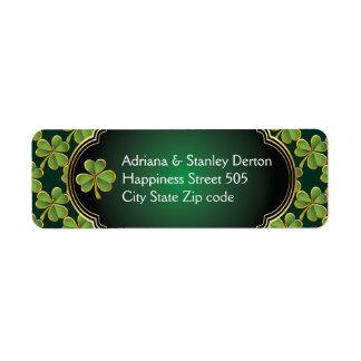 Gold, green Irish clover and frame wedding Return Address Label