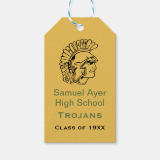 Gold Green Retro Trojan Class Reunion Gift Tag