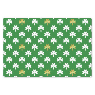 Gold & Green Shamrock Pattern St Patrick's Day Tissue Paper