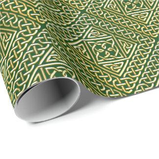 Gold Green Square Shapes Celtic Knotwork Pattern