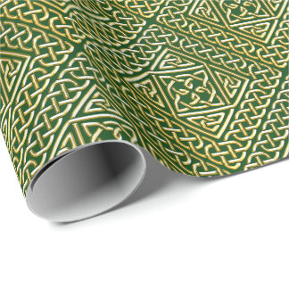 Gold Green Square Shapes Celtic Knotwork Pattern Wrapping Paper