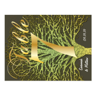 Gold Green Swirly Tree Table Number 7 Postcard
