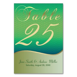 gold Green Table Number Cards