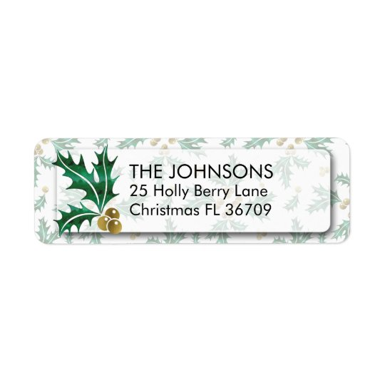 Gold & Green Watercolor Holly Leaves Pattern Return Address Label
