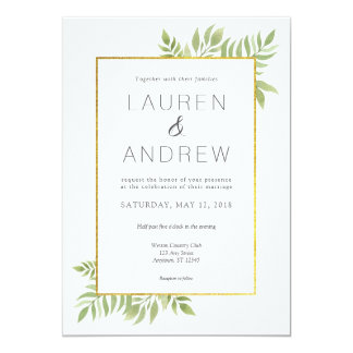 Gold Greenery Floral Leaves Wedding Invitation