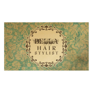 GOLD Grunge Damask Hair Stylist Appointment Cards Business Card