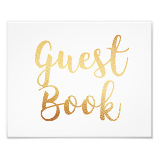 Gold guest book sign. Wedding poster. Foil effect Photo Print