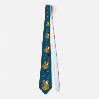 Gold Guitar and Notation on Sapphire Blue Tie