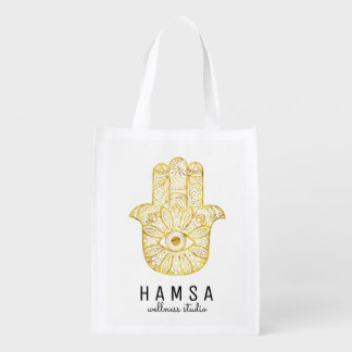 Gold Hamsa Reusable Bags