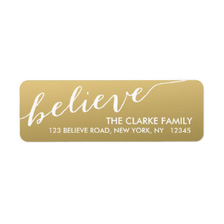 Gold Hand Lettered Believe Holiday