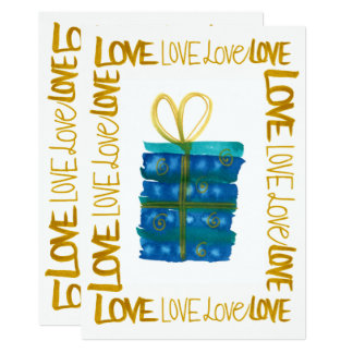 Gold Hand Lettered Love Present Christmas Card