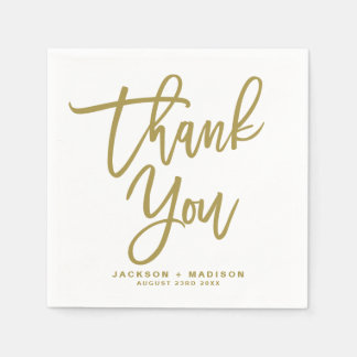 Gold Hand Lettered Script Thank You Wedding Paper Napkin