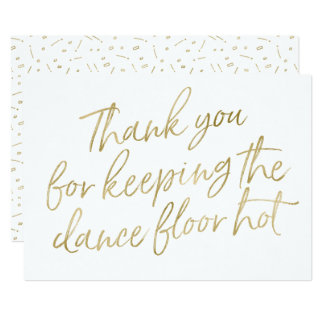 "Gold Hand Lettered ""Thank you"" DJ, Musician, Band Card"
