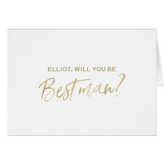 Gold Hand lettered Will you be my best man Card