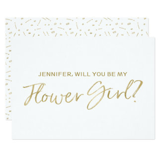 """Gold Hand lettered """"Will you be my flower girl"""" Card"""