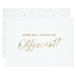 """Gold Hand lettered """"Will you be my officiant"""" Card"""