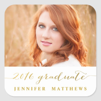 Gold Handwriting | 2016 Photo Graduation Sticker