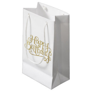 Gold Happy Birthday Gift Bags